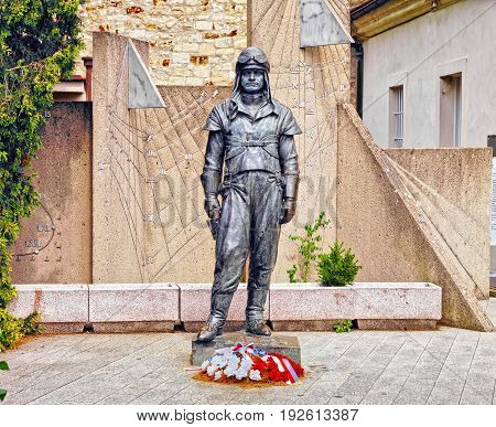 PRAGUE CZECH REPUBLIC - AUGUST 6 2015: Statue of Milan Rastislav Stefanik at the Stefanik Observatory on Petrin Hill Prague Czech Republic