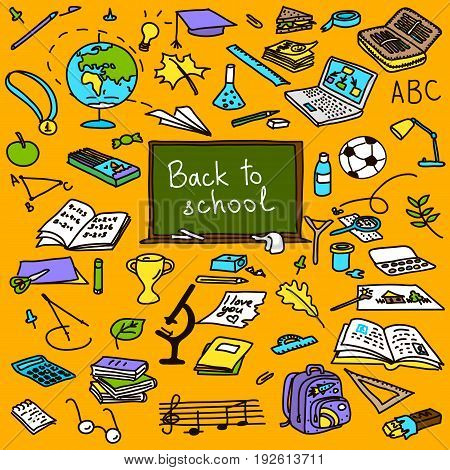 back to school hand drawn colored objects sketch doodle vector objects. eraser globe glue goggles graduate lamp laptop leaves pen pencil pin. For decoration prints tags textile poster