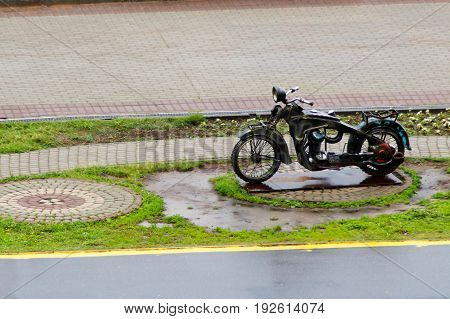 Beautiful motorcycle in the park on the road