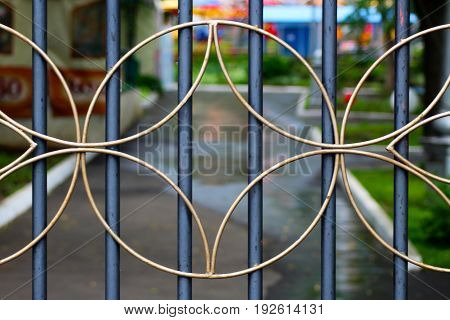Classical design black wrought iron gate in a beautiful park
