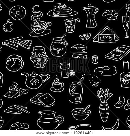 Morning breakfast doodle vector seamless pattern set on black. Chalk board style. Bread butter snack food milk toast jam cereal coffee egg pancakes phone pretzel. For menu cafe restaurant