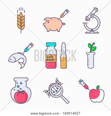 Collection of genetic modification icons. GMO. Genetic engineering. Genetic mutation.