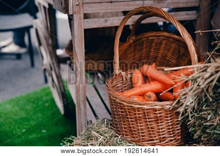 Peasant food in the farmer's style: potatoes, carrots in wooden boxes and karzin on green grass.