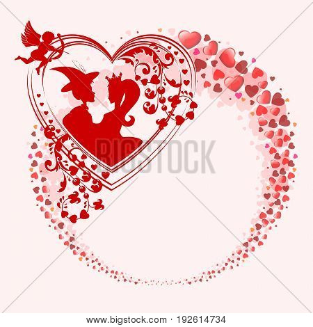 Red design from the silhouettes of the heart in the form of a circle, with the outline of the two lovers, the boy and the Princess