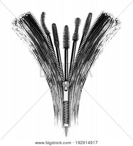 Mascara brushes with cosmetic strokes and elements of zipper. Conceptual image isolated on white background
