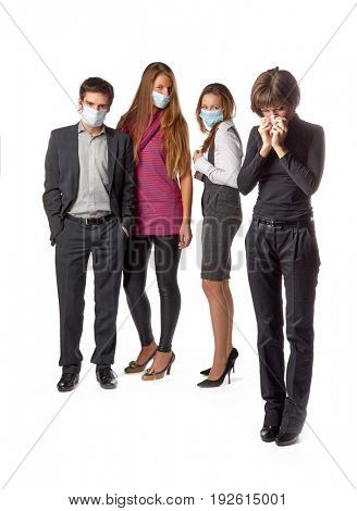 The girl with handkerchief and healthy people in individual protective masks on a white background.