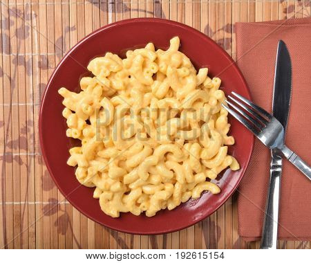 Overhead View Of Macaroni And Cheese