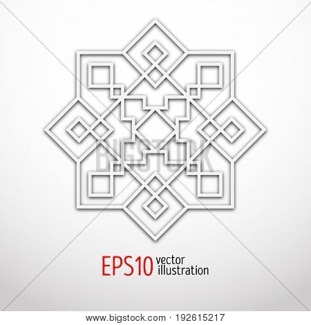 Oriental 3d vector pattern with arabesques. Vintage design in eastern style. Sacral geometry beautiful ornament