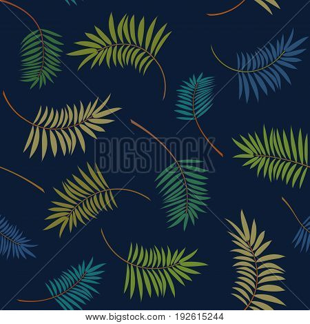 Colorful palm leaves on the dark blue background. Vector trendy seamless pattern. Tropical illustration. Jungle foliage.
