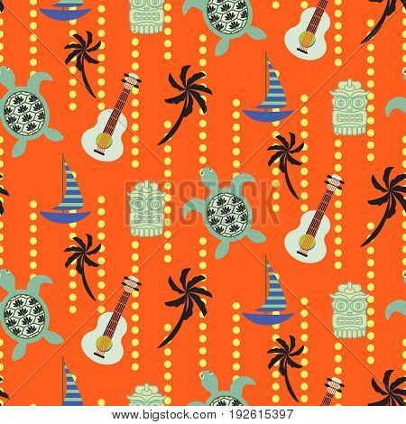 Hawaii beach orange seamless vector pattern. Colorful vertical tileable bright background with ukulele, boats, tortoise and palm trees elements.