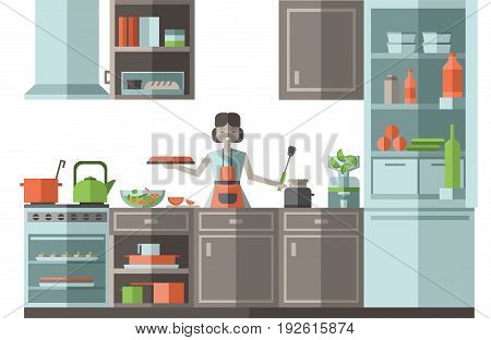 Woman preparing food in the kitchen. Furniture, cooking utensils and appliances. Flat style vector illustration on white background.