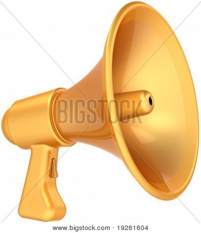 Megaphone golden news communication announcement icon
