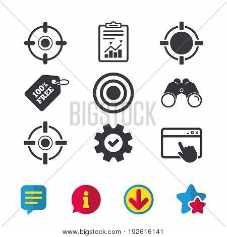 Crosshair icons. Target aim signs symbols. Weapon gun sights for shooting range. Browser window, Report and Service signs. Binoculars, Information and Download icons. Stars and Chat. Vector
