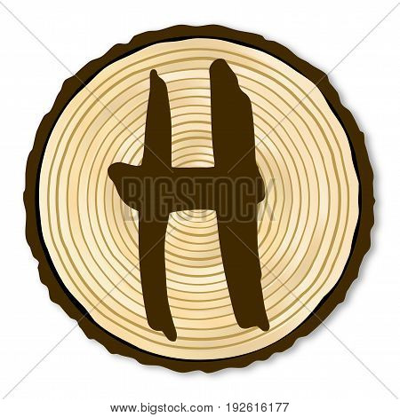 A light wood timber end section with the letter H over a white background