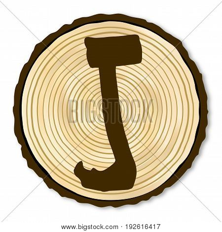 A light wood timber end section with the letter J over a white background