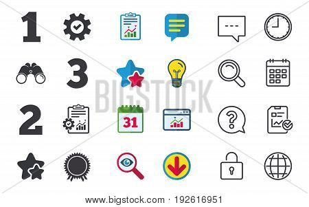 First, second and third place icons. Award medal sign symbol. Chat, Report and Calendar signs. Stars, Statistics and Download icons. Question, Clock and Globe. Vector
