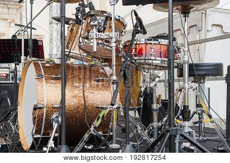 Detail of a drum kit  ready to play