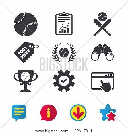 Baseball sport icons. Ball with glove and two crosswise bats signs. Winner award cup symbol. Browser window, Report and Service signs. Binoculars, Information and Download icons. Stars and Chat