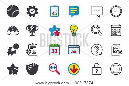 Baseball sport icons. Ball with glove and two crosswise bats signs. Fireball with award cup symbol. Chat, Report and Calendar signs. Stars, Statistics and Download icons. Question, Clock and Globe