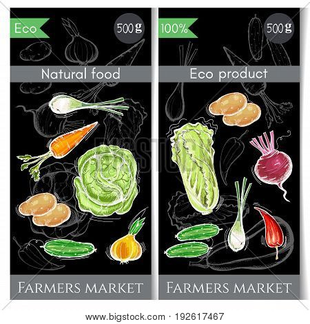 Vegetables banner. Healthy nutrition concept. Fresh vegetarian healthy food of vector chalk sketch. Eco farmer vegetables potato carrot cabbage pepper