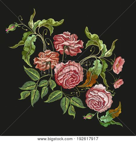 Embroidery wild rose. Classical embroidery blossoming rose buds on black background template fashionable clothes t-shirt design beautiful flowers pattern vector