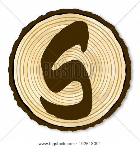 A light wood timber end section with the letter S over a white background