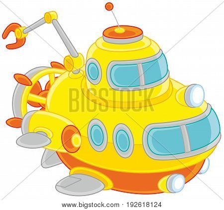 Vector illustration of a toy deep-sea bathyscaphe