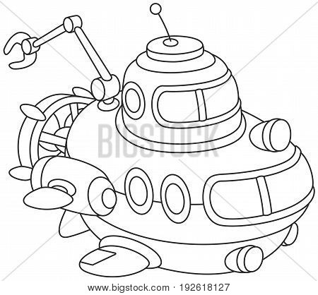 Black and white vector illustration of a toy deep-sea bathyscaphe