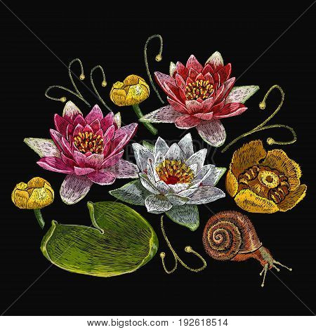 Water lily embroidery. Classical embroidery lotus and water lilies template fashionable clothes t-shirt design print
