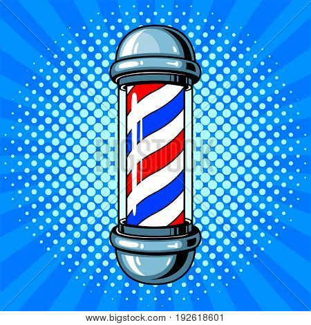 Barber sign with blue and red stripes pop art retro vector illustration. Comic book style imitation.