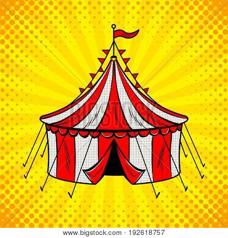Circus tent red and white stripes pop art retro vector illustration. Comic book style imitation.