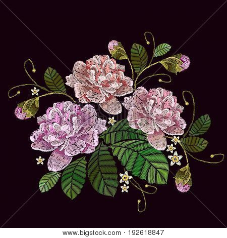Classical embroidery pink peonies on black background template fashionable clothes t-shirt design. Embroidery peonies flowers vector