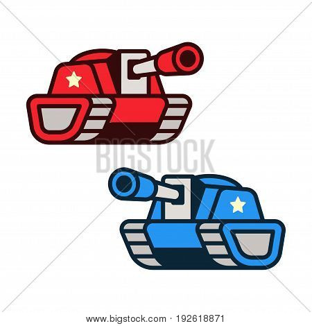 Cartoon tank icons red and blue opponent forces. Game art or infographic element vector illustration.