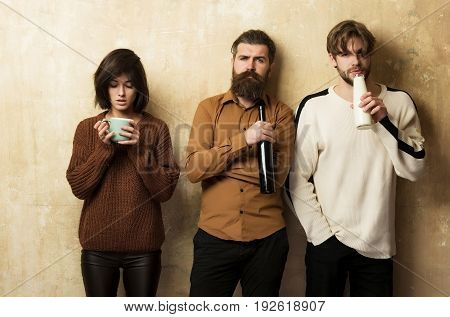 Group Of People Or Friends Drinking Drinks