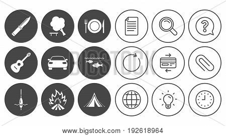 Hike trip, camping icons. Fishing, campfire and tourist tent signs. Guitar music, knife and food symbols. Document, Globe and Clock line signs. Lamp, Magnifier and Paper clip icons. Vector