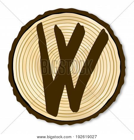 A light wood timber end section with the letter W over a white background