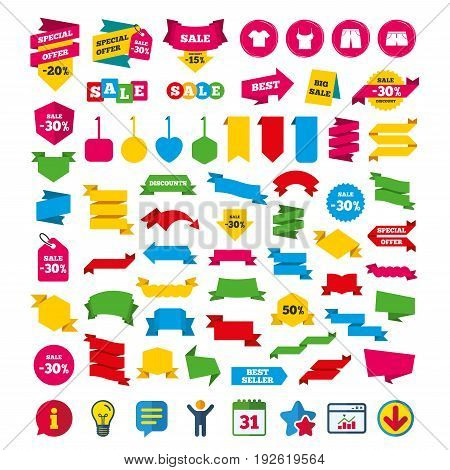 Clothes icons. T-shirt and pants with shorts signs. Swimming trunks symbol. Shopping tags, banners and coupons signs. Calendar, Information and Download icons. Stars, Statistics and Chat. Vector
