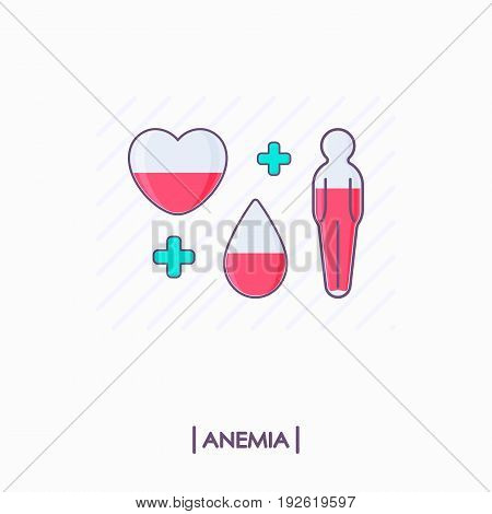 Collection of anemia icons. Heart drop and human body with low level of red liquid