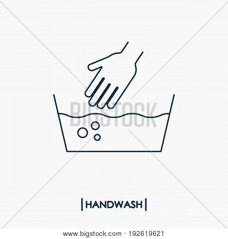 Wash hand outline icon. Delicate washing .