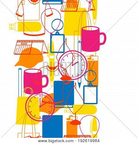 Seamless pattern with promotional gifts and souvenirs.