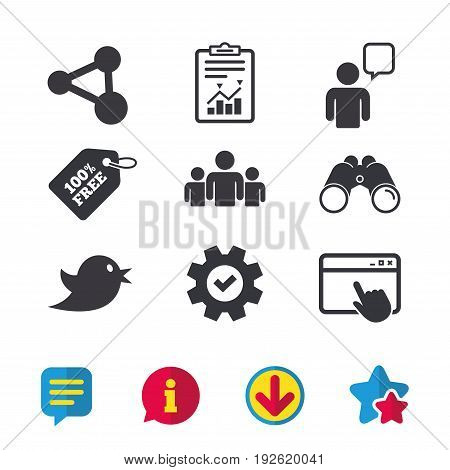 Group of people and share icons. Speech bubble symbols. Communication signs. Browser window, Report and Service signs. Binoculars, Information and Download icons. Stars and Chat. Vector