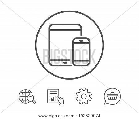 Mobile Devices icon. Smartphone and Tablet PC signs. Touchscreen gadget symbols. Hold Report, Service and Global search line signs. Shopping cart icon. Editable stroke. Vector