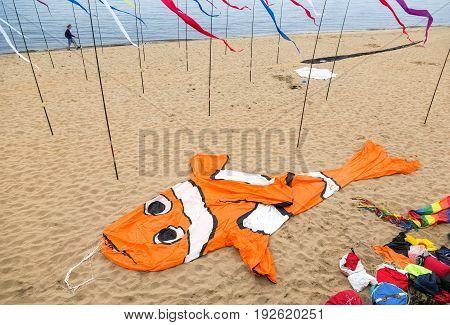Samara Russia - May 12 2017: An air kite in the form of a big orange fish lies on a sandy beach