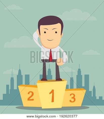 Successful manager or businessman. A man in a suit stand on a pedestal. Vector