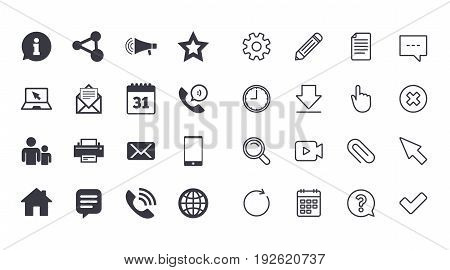 Set of Communication, Conference and Information icons. E-Mail, Printer and Internet signs. Speech bubble, Support and Phone call symbols. Calendar, Document and Download line signs. Vector