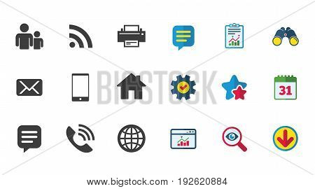 Contact, mail icons. Communication signs. E-mail, chat message and phone call symbols. Calendar, Report and Download signs. Stars, Service and Search icons. Statistics, Binoculars and Chat. Vector