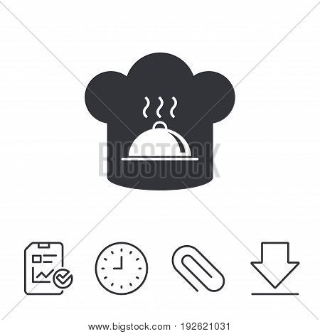 Chef hat sign icon. Cooking symbol. Cooks hat with hot dish. Report, Time and Download line signs. Paper Clip linear icon. Vector