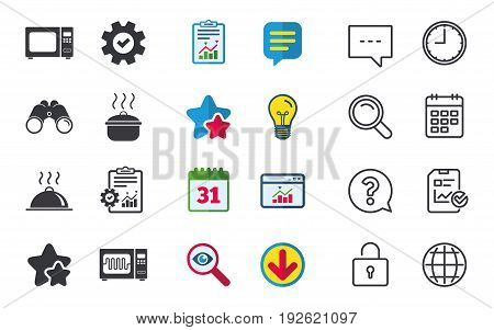 Microwave grill oven icons. Cooking pan signs. Food platter serving symbol. Chat, Report and Calendar signs. Stars, Statistics and Download icons. Question, Clock and Globe. Vector