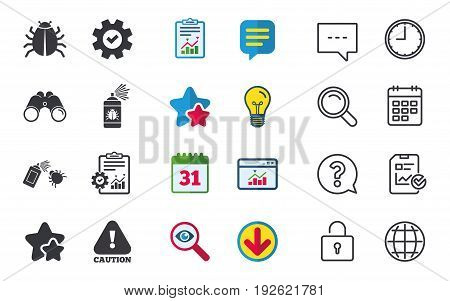 Bug disinfection icons. Caution attention symbol. Insect fumigation spray sign. Chat, Report and Calendar signs. Stars, Statistics and Download icons. Question, Clock and Globe. Vector