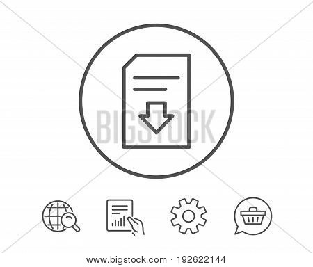 Download Document line icon. Information File sign. Paper page concept symbol. Hold Report, Service and Global search line signs. Shopping cart icon. Editable stroke. Vector